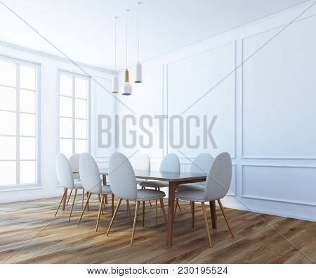 Modern Boardroom Corner With White Walls, A Wooden Floor, A Long Table With White Chairs And Large W