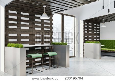 White And Dark Wooden Wall Eco Bar Corner With Loft Windows And Wooden Tables And Chairs. Flower Bed
