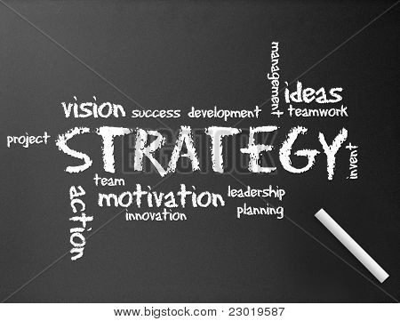 Dark chalkboard with a Strategy diagram illustration. poster
