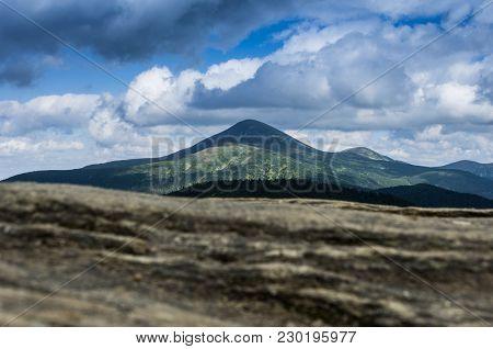 Summit On Mountains. Mount Goverla In Ukraine. The Highest Mountain In Ukraine.