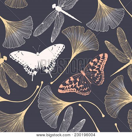 Seamless Floral Pattern With Ginkgo Biloba Leaves, Butterflies And Dragonflies. Vector Elegant Backg