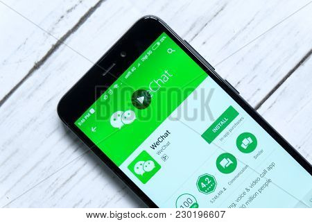Kuala Lumpur,malaysia - January 28th,2018:wechat App On Android Play Store. Wechat Developed By Tenc