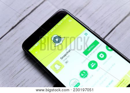 Kuala Lumpur,malaysia - January 28th,2018 : Top View Of Smartphone With Snapchat On An Android Play