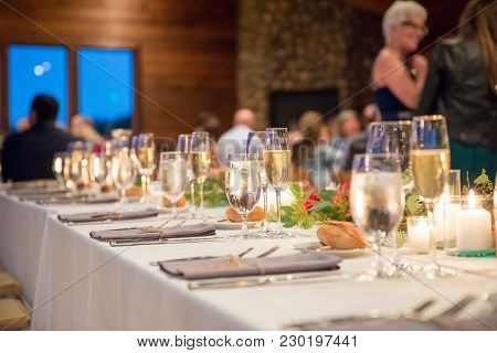 Winery Wedding Reception In California With A Fancy Table Setup For This Indoor Reception Lit With C