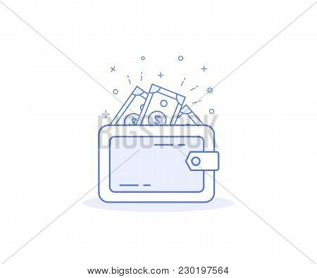 Wallet With Money Vector Icon, Marketing, Purse Sign