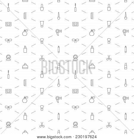 Seamless Make Up Icons Pattern Grey On White Background