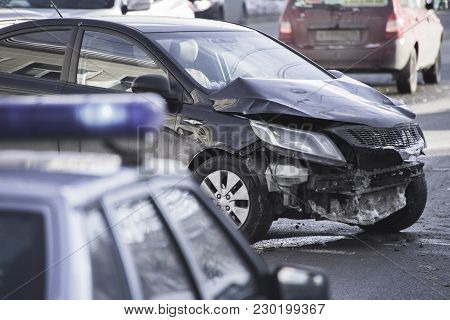 Car Accident On The Road With Shallow Depth Of Field