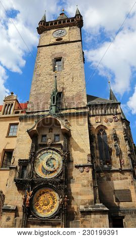 Medieval Tower With An Astronomical Clock In Prague In Czech Republic