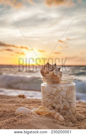 Sea Shells Collected In A Grass Jar On Tropical Sandy Beach With Sunrise Over Ocean As A Background,