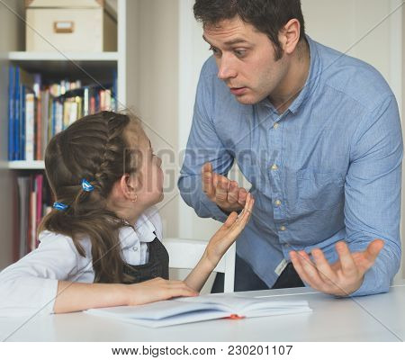 Father Argues With His Daughter About Book Facts.