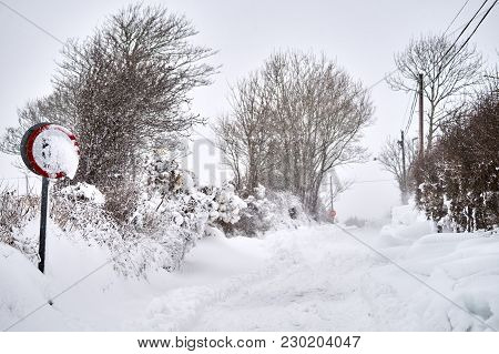 Extreme Winter Road Covered In Snow In Bannow County Wexford Ireland In March 2018.
