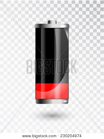 Low Battery. Battery Charging Status Indicator. Glass Realistic Power Battery Illustration On Transp