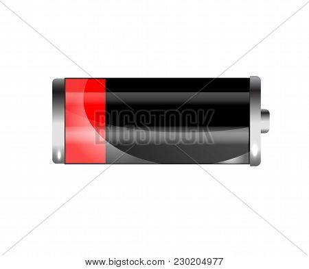 Low Battery. Battery Charging Status Indicator. Glass Realistic Power Battery Illustration On White