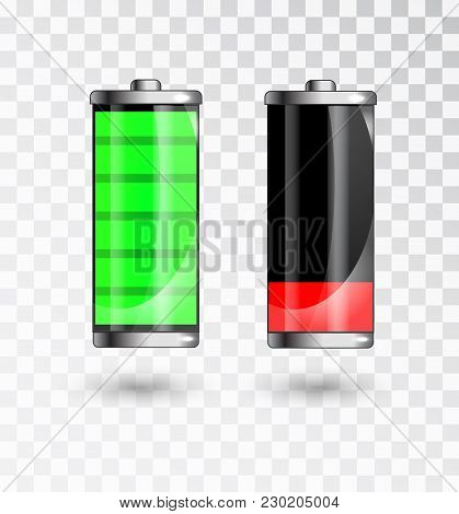 Charged And Low Battery. Full Charge Battery. Battery Charging Status Indicator. Glass Realistic Pow