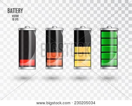 Battery Charging. Battery Charging Status Indicator. Glass Realistic Power Battery Illustration On T