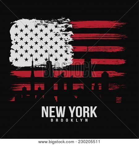 T-shirt Graphic Design With American Flag And Grunge Texture. New York Typography Shirt Design. Mode