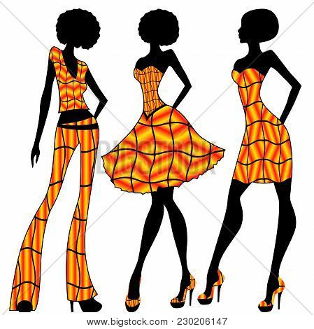 Attractive Slender Women Dressed In Bright Yellow And Orange Clothes, Vector Illustration