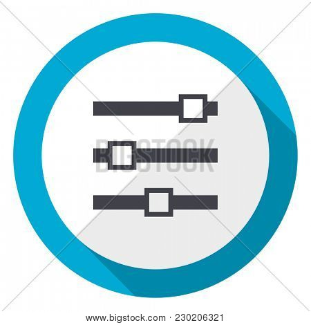 Slider blue flat design web icon
