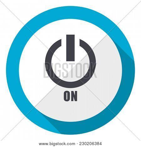 Power on blue flat design web icon
