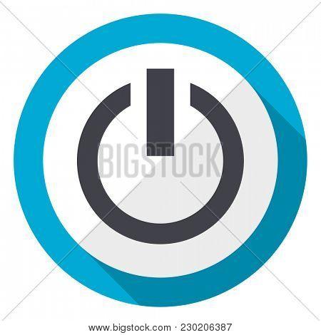 Power blue flat design web icon