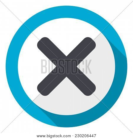 Cancel blue flat design web icon