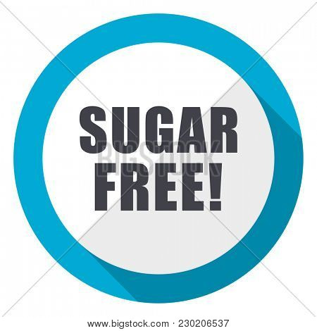Sugar free blue flat design web icon