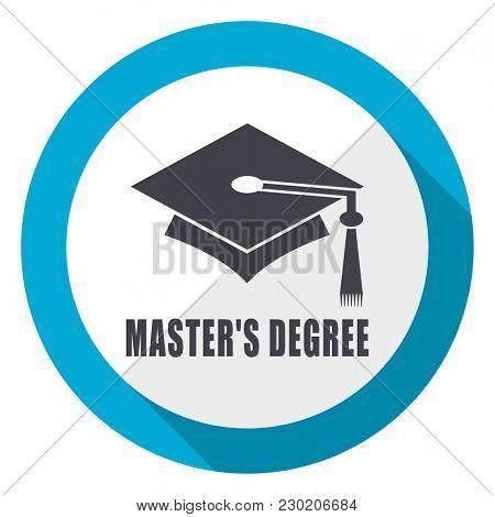 Masters degree blue flat design web icon
