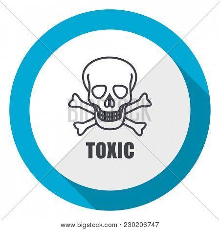 Toxic skull blue flat design web icon