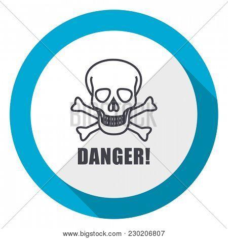 Danger skull blue flat design web icon