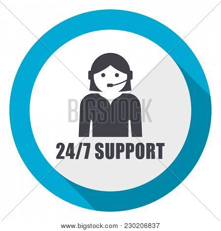 24/7 support blue flat design web icon