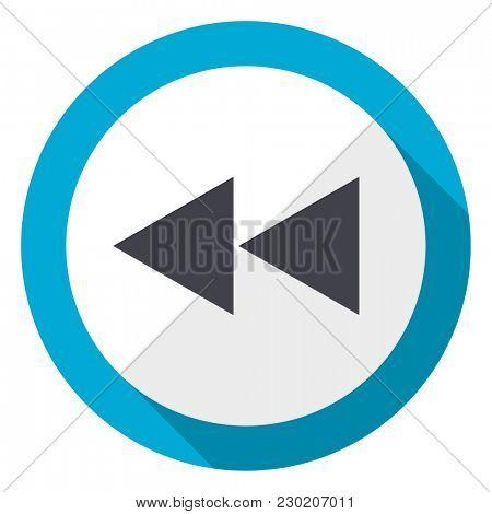 Rewind blue flat design web icon