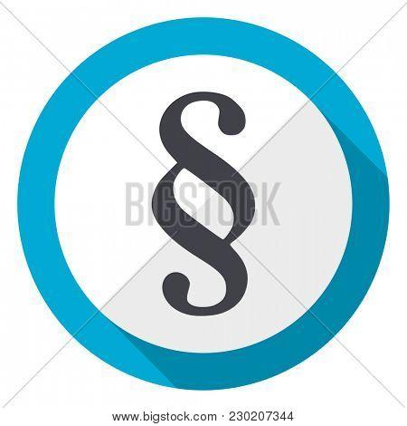 Paragraph blue flat design web icon