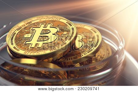 Storing Bitcoins In Jar While Waiting For Good Selling Opportunities. 3d Rendering
