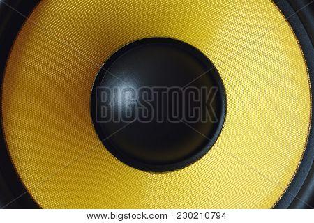 Subwoofer Dynamic Membrane Or Sound Speaker As Music Background, Yellow Hi-fi Loudspeaker Close Up M