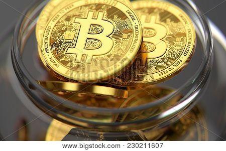 Storing Bitcoins In Jar. Risky Ways Of Storing Cryptocurrencies. 3d Rendering