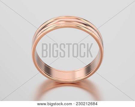 3d Illustration Rose Gold Matching Couples Wedding Ring Bands On A Gray Background