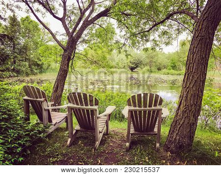 Wooden Chairs Near A Calm Pond With Water Lilies. Green Summer Park.