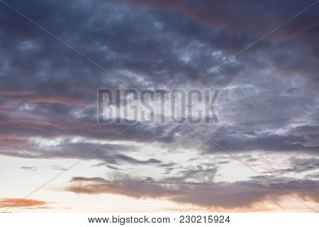 Beautiful Sunset Clouds Sky Background. Great Background For Your Project