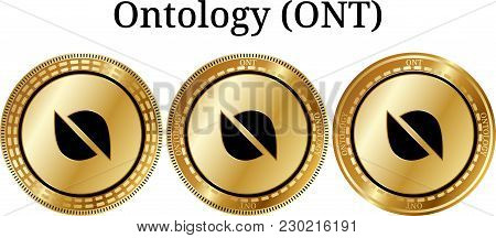 Set Of Physical Golden Coin Ontology (ont), Digital Cryptocurrency. Ontology (ont) Icon Set. Vector
