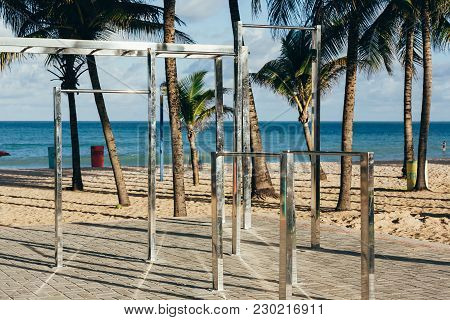 Free Gym Equipment At Beach In Brazil. Day Time Image Of Open Gym At Beach. Fitness Equipment Instal