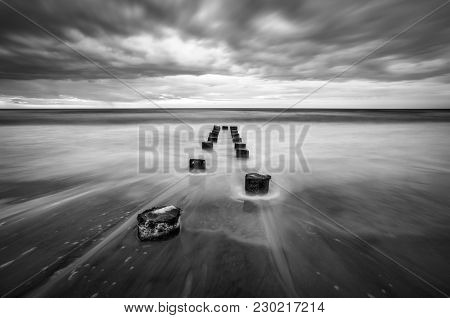 Folly Beach Charleston South Carolina Long Exposure Black And White Seascape Photography Featuring M