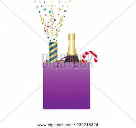 Shopping Bag With Bottle Of Champagne And Christmas Candy Cane. Exploding Party Popper With Confetti