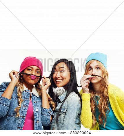 Close Up Happy Smiling Diverse Nation Girls Group, Teenage Friends Company Cheerful Having Fun Cute