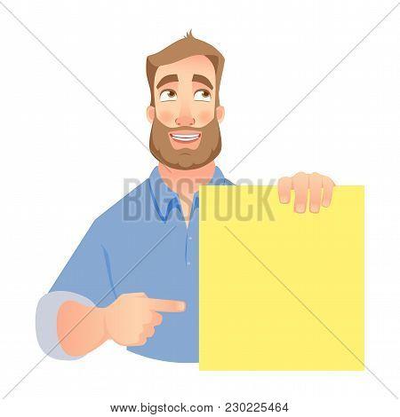 Man Holding Blank Banner. Shy Businessman Pointing To Banner.  Illustration Set