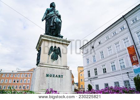 Salzburg, Austria - September 6 2017;   Statue Of Mozart In Old City Square, Known As Mozart Square