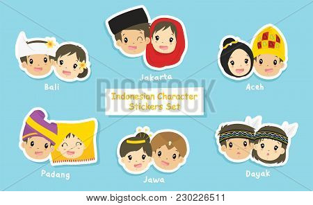 Indonesian couple stickers collection. Indonesian boys and girls wearing Indonesian headdress. printable stickers template cartoon vector. poster
