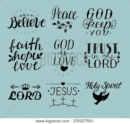 Set Of 9 Hand Lettering Christian Quotes Jesus. Holy Spirit. Trust The Lord. Peace. Only Believe. Fa