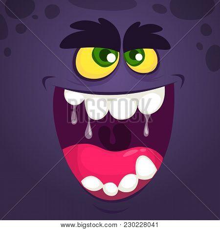 Cool Black Monster Face. Cartoon Vector Illustration
