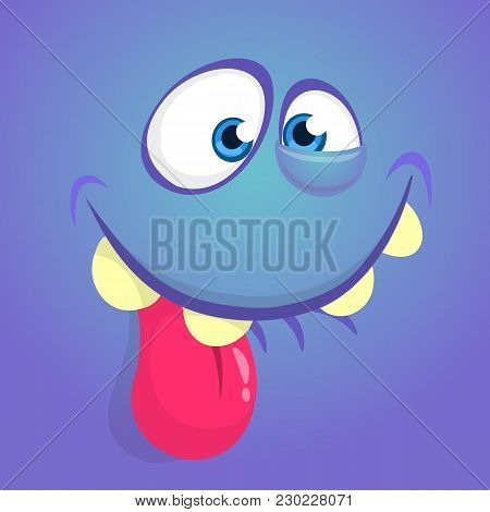 Cute Happy Cartoon Monster Face With Big Eyes Showing Tongue. Vector Halloween Blue Monster