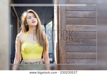 Web Site Page Design Concept, Pretty Swimsuit Fashion Young Sexy Asian Woman Posing Background.